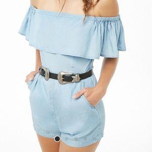 💙 Cute Blue off the shoulder romper